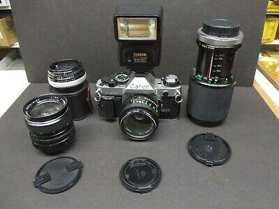Canon AE-1 Program with 3 lenses 50mm 1.8 lens & 75-205mm & 28mm 2.8 & flash
