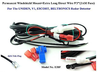 "Extra Long 9'3"" Hard Wire For The Escort, Bel, Valentine, Uniden Radar Detector"