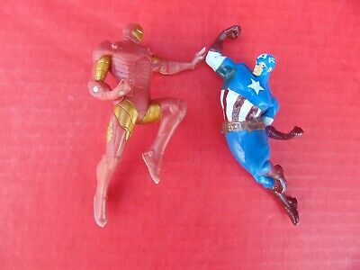 """ACTION FIGURE Marvel Captain America & Ironman Soaring 5"""" 2013 Swimways Pair, used for sale  Shipping to India"""