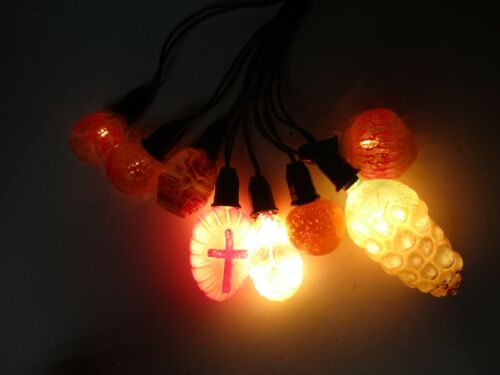 8 Vintage Working C-6 Glass Figural Christmas Lights w Cord  Fruit Flowers Cross
