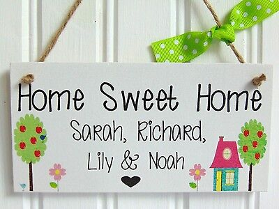 Personalised handmade Home Sweet Home Plaque - House warming Gift New Home Sign