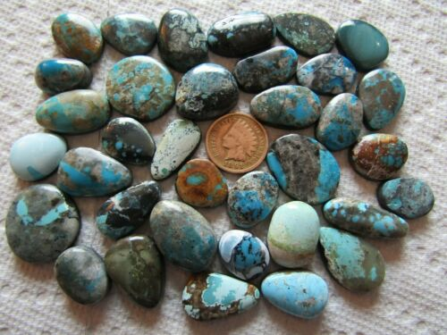 35 Mixed Turquoise Cabs 350 carats Blue Green Cabochons Wholesale Lot