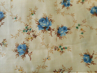 8 x 35 1950s Cotton Fabric Vintage Blue Red Green Flower Sponged Black Dot Material Quilting vtg 50s Fashion Fabric Floral 2 yard