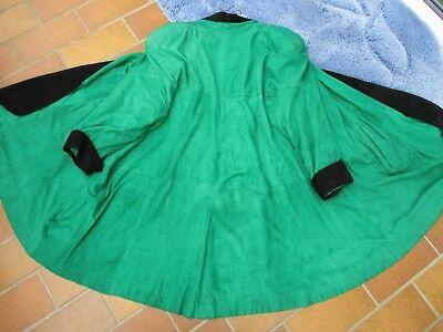 Original echt Leder Vintage Ziegenleder Swinger Cape Ledermantel grün L - XL  Vintage Swing Mantel