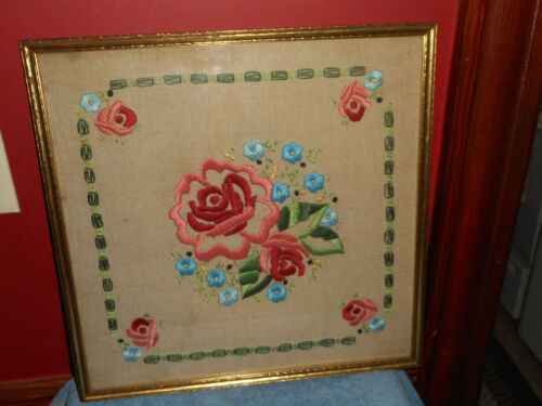 Antique Rose EMBROIDERY Crewel GOLD WOOD FRAME Handmade Embroidered Flowers