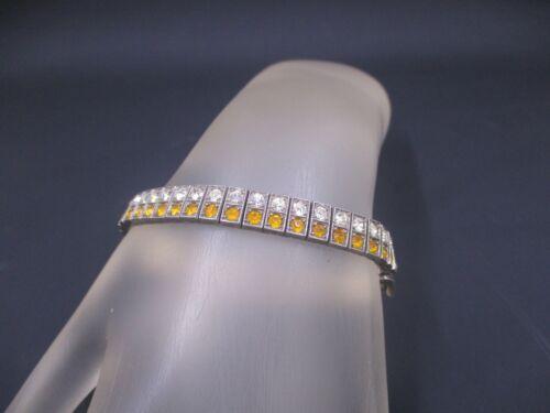 Vintage Art Deco DIAMONBAR .925 Sterling Silver Rhinestone Buckle Bracelet *44