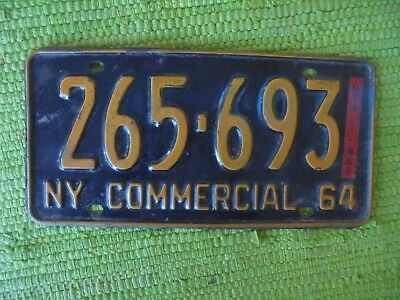 1964 New York Commercial License Plate 64 NY Tag 265-693