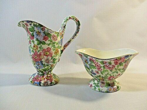 "Vtg. Erphila ""Devon"" Czechoslovakia Chintz Floral Pattern Creamer & Sugar Bowl"