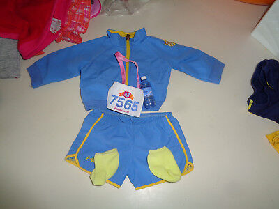 American Girl Doll 2 in1 Running Track Jacket Top Shorts Socks H2O Bottle Number, used for sale  Cedarville