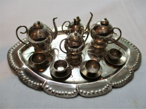 Antique,MINIATURE,STERLING SILVER,13pc, Doll House Tea Set. ABSOLUTELY ADORABLE!