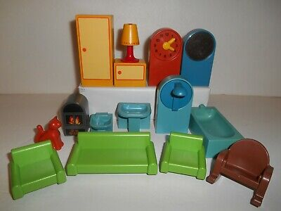 VTG Playmobil Doll House Furniture Lot Of 15 Living Room Bathroom Lamp Cat Clock