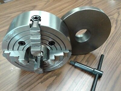 8 4-jaw Lathe Chuck W. Independent Jaws W. 2-14-8 Adapter Semi-finish0804f0