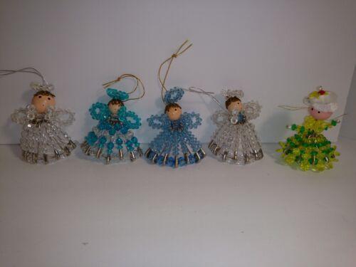 Vintage Handmade angels plastic Bead Christmas Ornaments