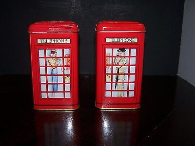 Set of 2 novelty Tin can Banks Telephone Booth