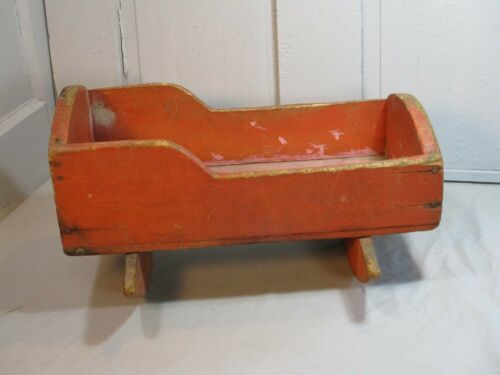 Antique Ca 1850 Primitive Doll Cradle w/ Orange Paint & 23 Square Head Nails