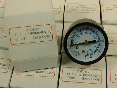 1 18 Npt Air Pressure Gauge 0-15 Psi Back Mt 1.5 Face 98601410 Bar Kpa