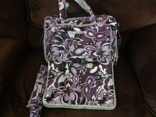 Ju-Ju-Be Large  Plum/blk/wh BFF Baby Diaper Bag w Changing Pad~ NEVER USED
