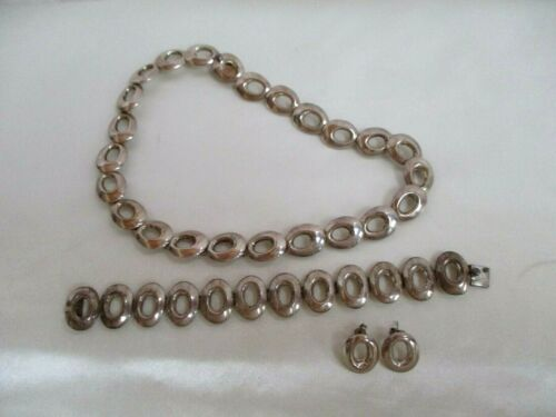 Vintage Sterling Silver Oval Link Necklace Bracelet And Earrings Set 925 Mexico