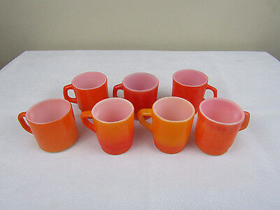 Lot of 7 Anchor Hocking Fire King Orange and Red D-Handle Ribb Mugs - Stackable