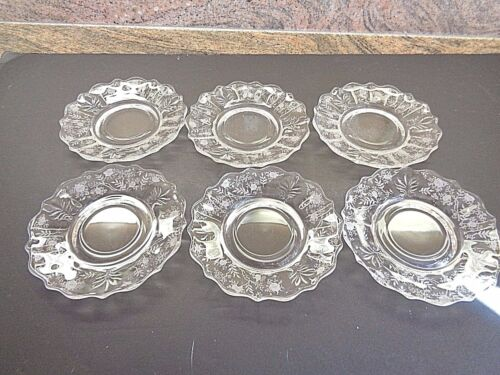 6 Antique Etched Glass Saucers beautiful