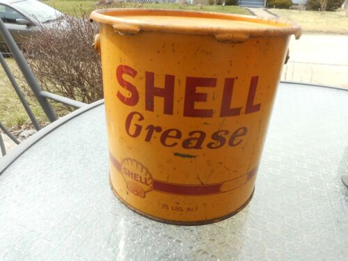 RARE Vintage SHELL Gas Station 25 LB Grease Oil Advertising Pail Can