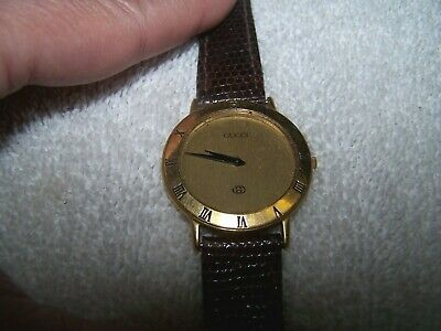 Vintage Mens Gucci Dress Watch 3000M 18K Gold Plate 6J Swiss w/Band-REPAIR PARTS