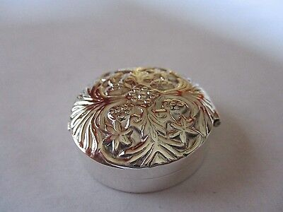 Sterling Silver Pill Box Round Engraved 925 solid silver Hallmarked 1 1/2 round