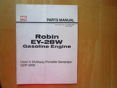 Robin Ey-28w Gasoline Engine Parts Manual Used In Multiquip Portable Generator
