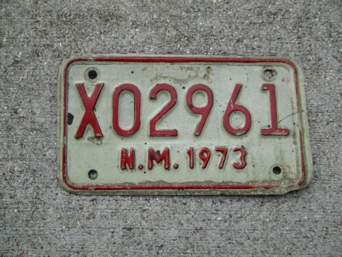 New Mexico  1973 motorcycle  license plate #  X 02961