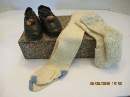 Antique Leather Baby Shoes, Long Socks & Booties