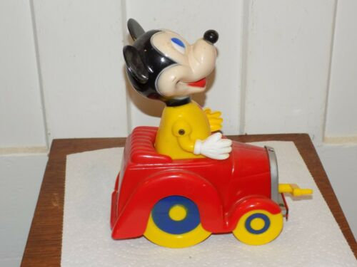 Vintage 1965 Mickey Mouse Walt Disney Productions Wind Up Toy Car.