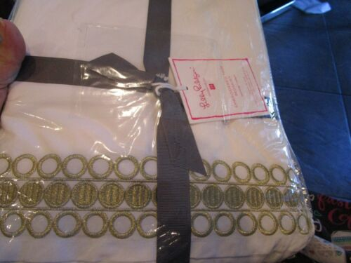 Pottery Barn Teen Lilly Pulitzer Organic Embroidered Trim Bed Skirt queen gold
