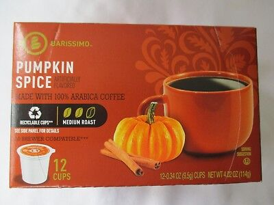 BARISSIMO PUMPKIN SPICE FLAVORED COFFEE 12 PODS K-CUPS BOX - NEW