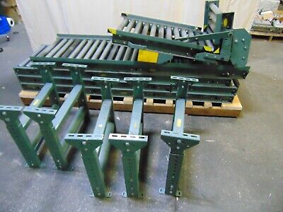 6 Sections Of Hytrol Gravity Roller Conveyor With Legs And Walk Lift Gate