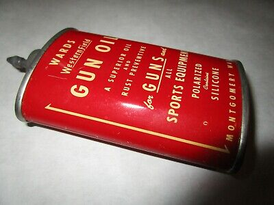 vintage WARDS Western Field lead top gun oil can, advertising tin, display