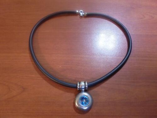 """Sterling silver black rubber light blue crystal slide pendant necklace 17.75"""""""
