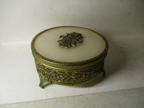 Hollywood Regency Gold Filigree Round Vanity Powder Box with Glass Insert