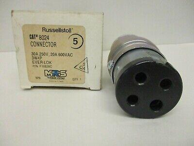 Russellstoll Cat 8024 Connectorpn F10628c Ever-lok 30a250v 20a 600vac 3w4p