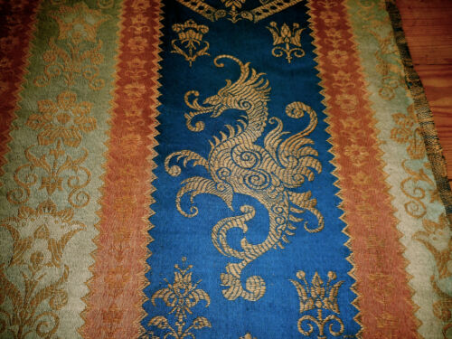 Antique French Heraldic Griffin Cotton Linen Jacquard Fabric ~ Blue Sienna Sage