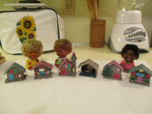Vintage Christmas Miniature Mica Glitter Japan Box Of 6 Putz Houses Ornaments