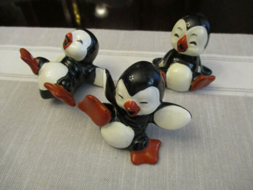 Vintage Penguin Ceramic Christmas Ornaments Tumbling Cute Penguins Lot