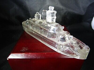 Vintage Victory Glass Jeannette PA Miniature Battleship Toy Candy Container ~5.0, used for sale  Suffolk