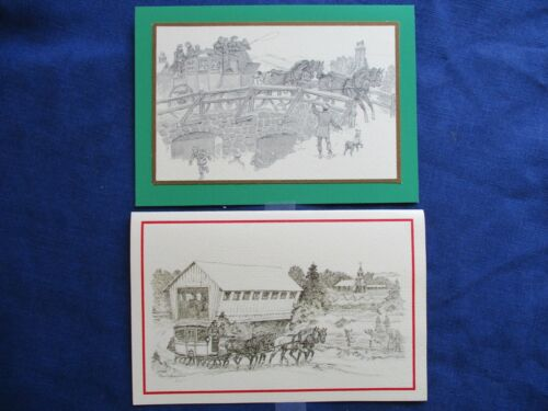 VINTAGE PAUL BROWN Horse ILLUSTRATION Christmas Cards  4 Horse Carriage Lovely!