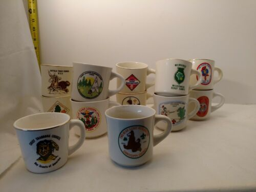 BSA Boy Scouts of America Vintage Coffee Mugs Lot of 12 illinois and wisconsin