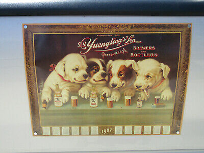 """YUENGLING BEER 1907 Puppy dog Calendar Poster wall sign 19 3/4"""" X 26 1/2'"""""""