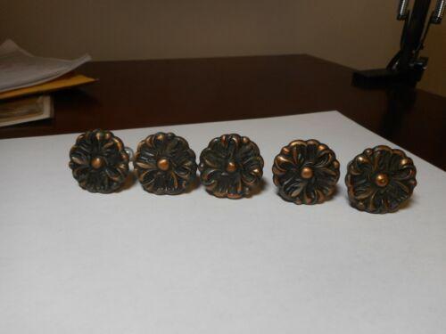 """5 Vntg Amerock Round Floral Drawer Pulls Cabinet Copper Metal 1-1/4"""" - Multiples"""