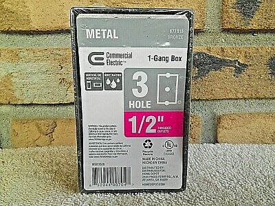New Commercial Electric Weatherproof 1 Gang Outlet Box 3 Hole 12 Bronze 677515