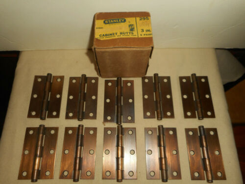 "Vintage STANLEY USA Cabinet Butt Hinges No. 295 3"" x 2"" 5 Pairs in Original Box"