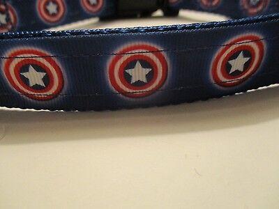 Handmade Captain America dog collar  adjustable nylon patriotic red white & blue