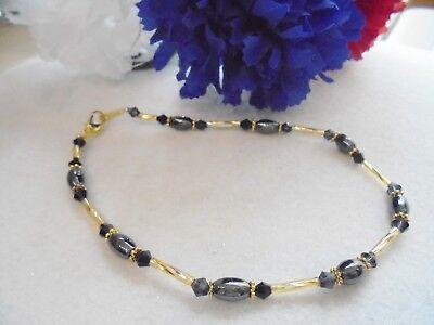 "Ankle Bracelet Magnetic Black Hematite Black Swarovski Crystals 10"" Ladies GP"